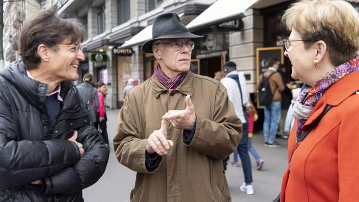 SWR-Filmemacher Hermann Abmayr, Alt-Bundesrat Moritz Leuenberger und Nationalrätin Edith Graf-Litscher (SP).