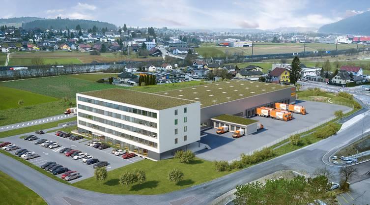 Bürohaus und Dispositionsfläche für den Logistikteil: So soll der neue TNT-Hauptsitz in Oftringen aussehen.