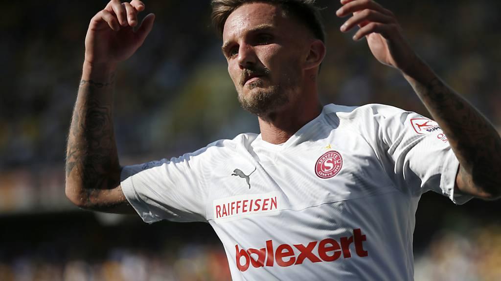 Sébastien Wüthrich, hier nach seinem Tor im Juli in Bern gegen die Young Boys (1:1), hat in den letzten Wochen einen Teil seiner guten Form eingebüsst