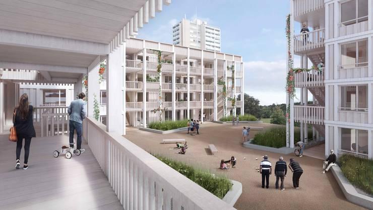 Das geplante städtische Neubauprojekt im Brisgi, hinten das alte Hochhaus.