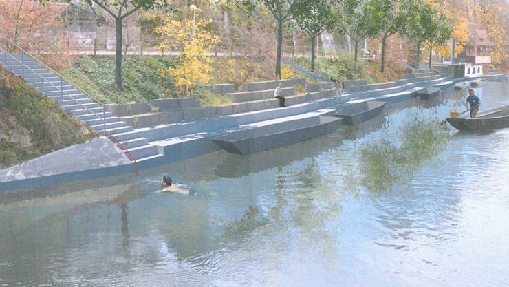 So soll der Zugang auf der linken Aareseite zwischen Gäubahnbrücke und Pontonierhaus künftig aussehen: Das Ufer lädt mit Treppen und Steinen zum Verweilen ein. Gleichzeitig hat der Oltner Pontoniersportverein genügend Platz für seine Boote. Visualisierung Zvg