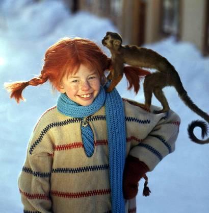 Pippi mit ihrem Äffchen Herr Nilsson.