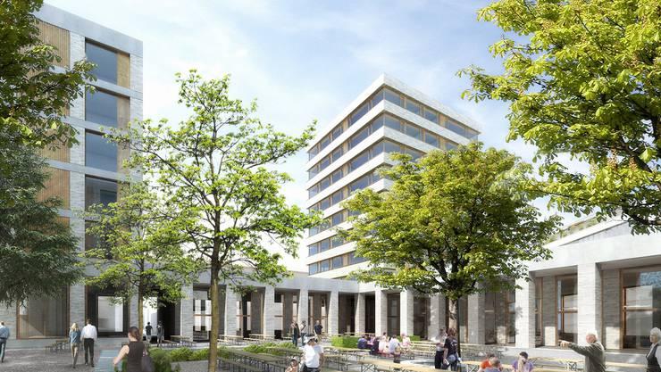 Die Visualisierung zeigt den Blick auf den Biergarten, rundherum das Sockelgeschoss mit Läden, dahinter die beiden Hochbauten an der Dynamostrasse. Frei Architekten