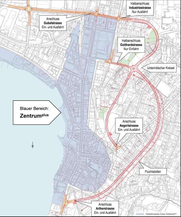 Grafische Übersicht über das Projekt Stadttunnel und die Standorte der Tunnelportale
