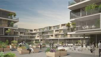 Ein öffentlicher Platz von mehreren Hundert Quadratmetern mit Grün- und Gartenflächen: Das ist der Innenhof des neuen Sälipark-Gebäudes mit den 75 Mietwohnungen, die um den Platz angesiedelt sind.