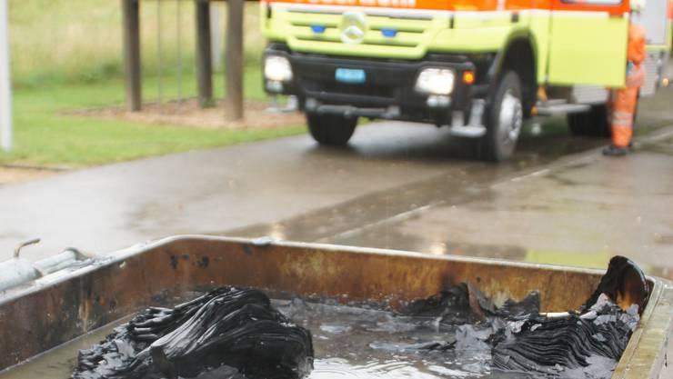 Die Feuerwehr löschte den Container. (mmo)
