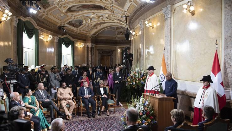 Ram Nath Kovind, der indische Präsident, bei seiner Rede am Freitag in der Wandelhalle.