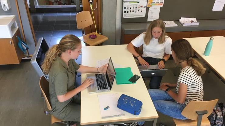 Anna-Timea, Zoé und Luisa schreiben Zeitungsbrerichte.