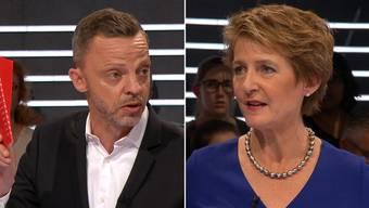 Zanken sich in der SBI-«Arena»: Hans-Ueli Vogt und Simonetta Sommaruga.