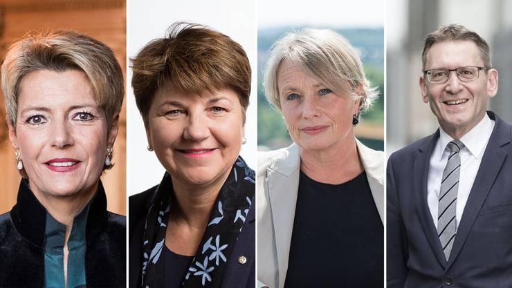 Anwärterinnen und Anwärter auf einen Sitz im Bundesrat (von links): Karin Keller-Sutter (FDP/SG), Viola Amherd (CVP/VS), Elisabeth Schneider-Schneiter (CVP/BL), Pirmin Bischof (CVP/SO).
