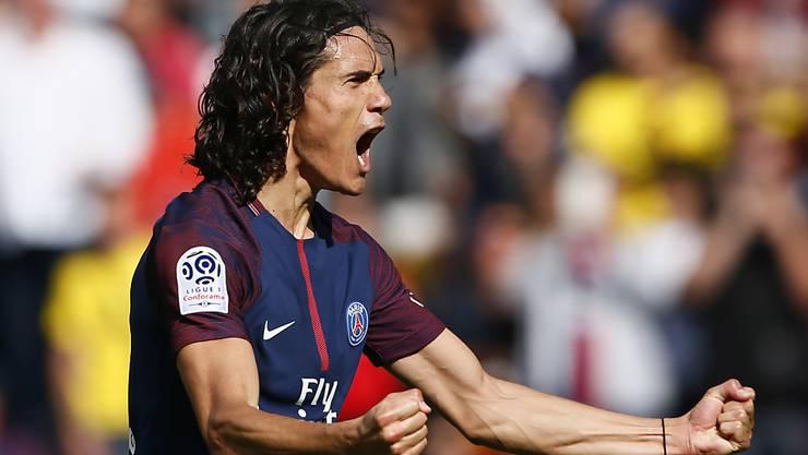 Erstes Saisonspiel gegen Amiens, erster Treffer: der letztjährige Ligue-1-Topskorer Edinson Cavani trifft auch 2017/18 wieder
