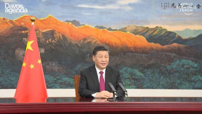 Chinas Präsident Xi Jinping bei seinem Auftritt am virtuellen WEF am Montag.