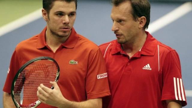 Niederlage für Stanislas Wawrinka (l.) und Yves Allegro