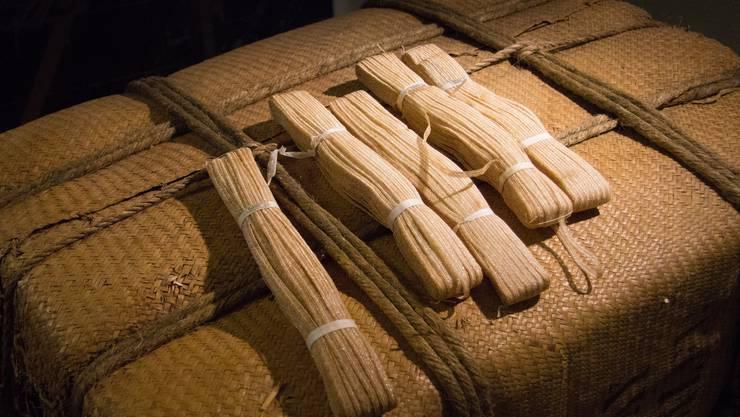 Hanfgeflechte wurden in solchen Strängen aus dem Ausland Importiert, wie im Strohmuseum Wohlen gezeigt wird.