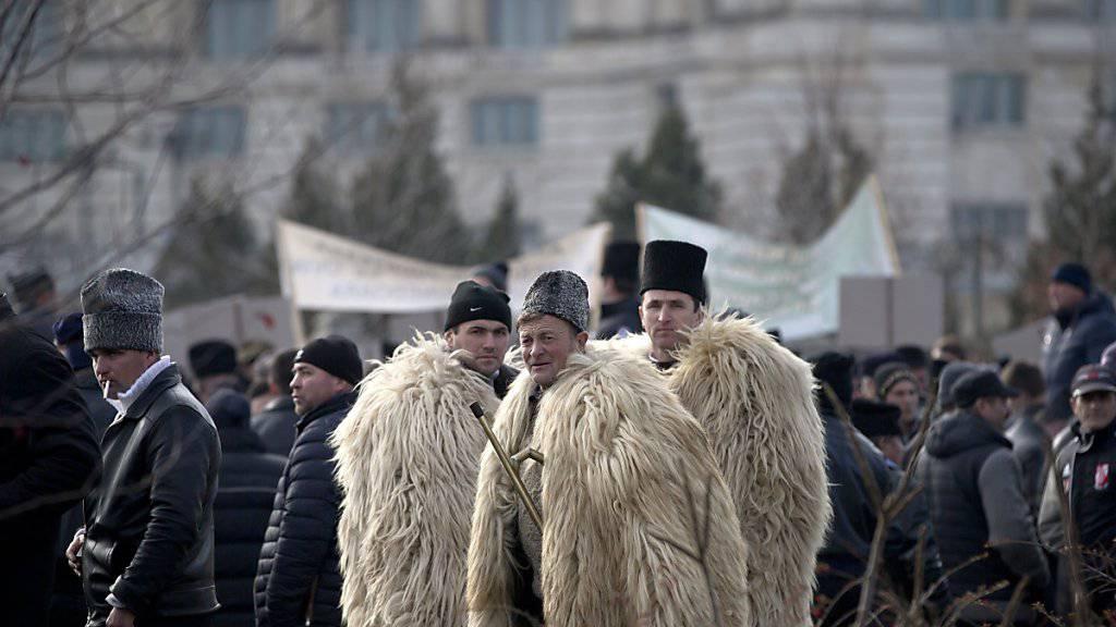 Hunderte Schäfer protestieren vor dem Parlament in Bukarest gegen neue Bestimmungen im Weidegesetz.