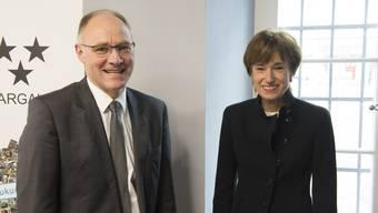 Ihr Lachen trotz Niederlage nicht verloren: Hansjörg Knecht und Ruth Humbel.