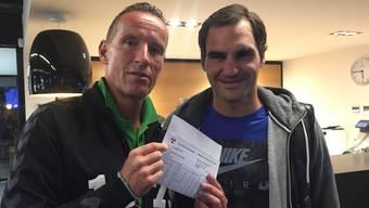 Die Fotos zeigen Roger Federer mit den RTV-Vorstandsmitgliedern Meinrad Stöcklin und Andreas Xavier de Sousa