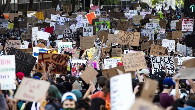 Tausende Demonstranten bei einer Kundgebung in Los Angeles.