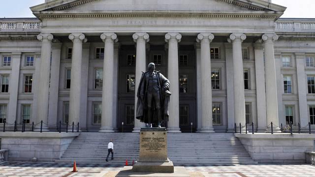 Blick auf das US-Finanzministerium: Das US-Defizit sank im Vergleich zum Vorjahr deutlich (Archiv)