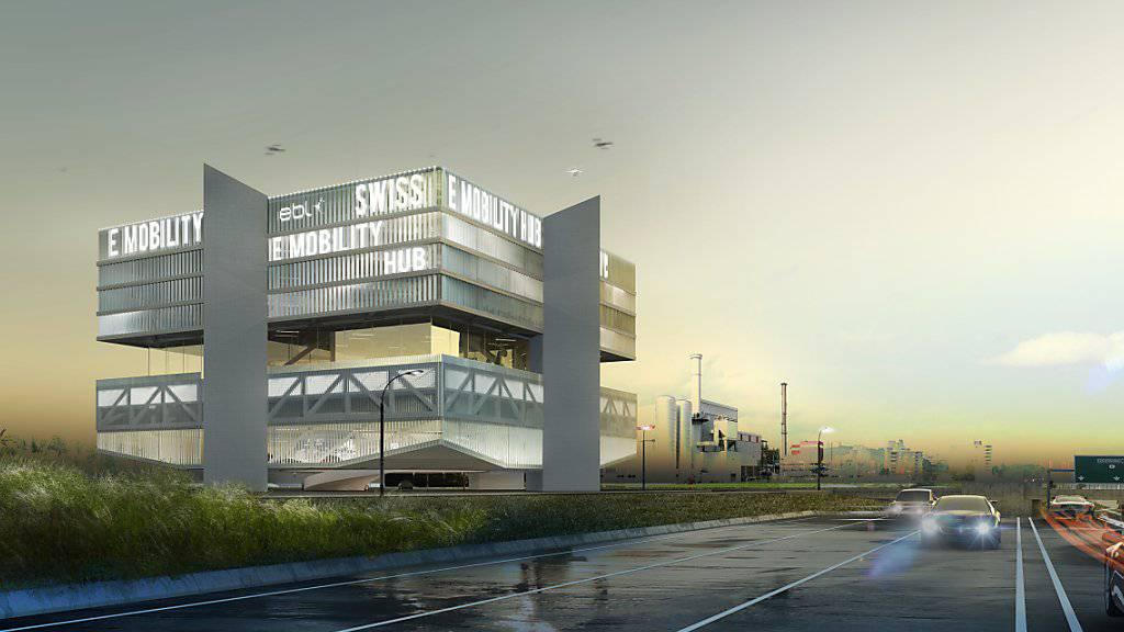 Der «Swiss E-Mobility Hub» mit 280 Ladestationen für Elektrofahrzeuge soll unmittelbar neben der Autobahn A2 in Pratteln BL entstehen.
