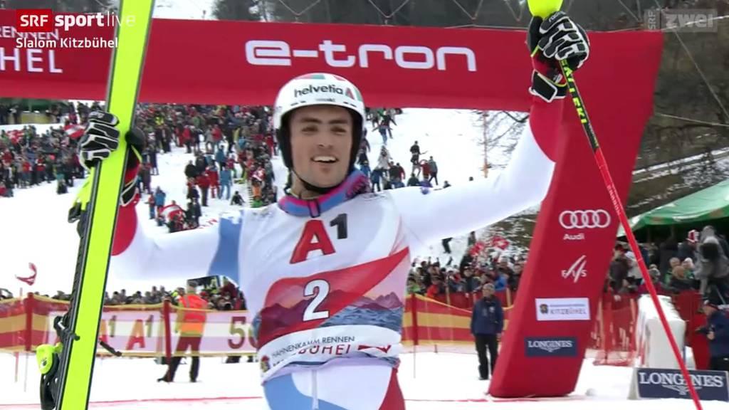 Daniel Yule gewinnt den Slalom von Kitzbühel!