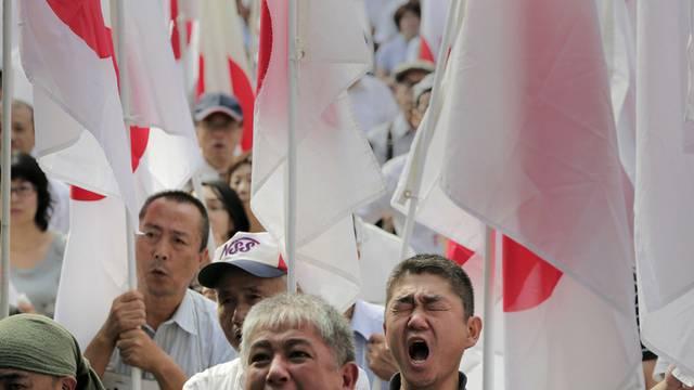 Demonstranten tragen japanische Flaggen in Tokio