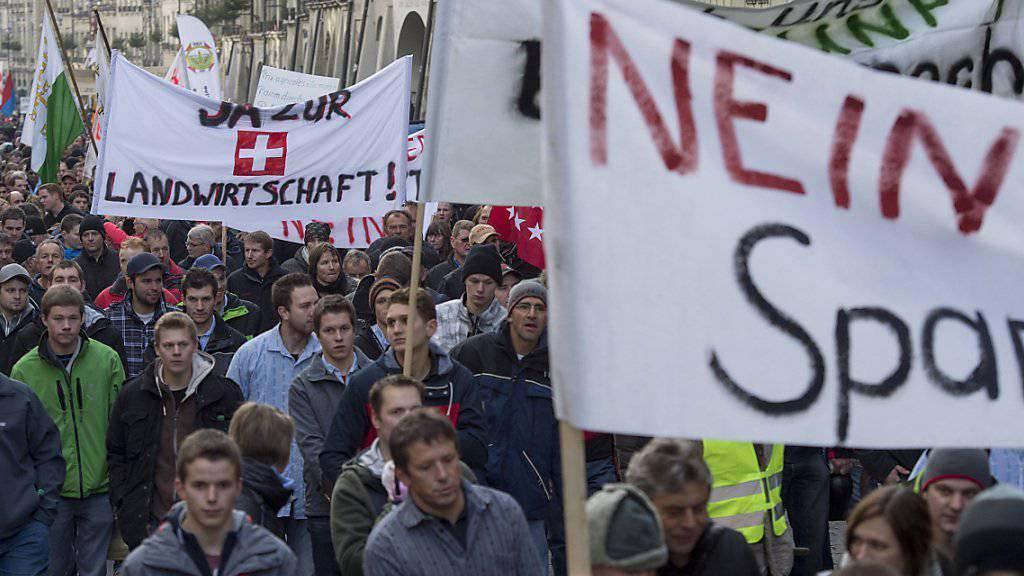 Der Protest der Bauern hat sich gelohnt: Das Parlament will im nächsten Jahr bei der Landwirtschaft nicht sparen. (Archiv)