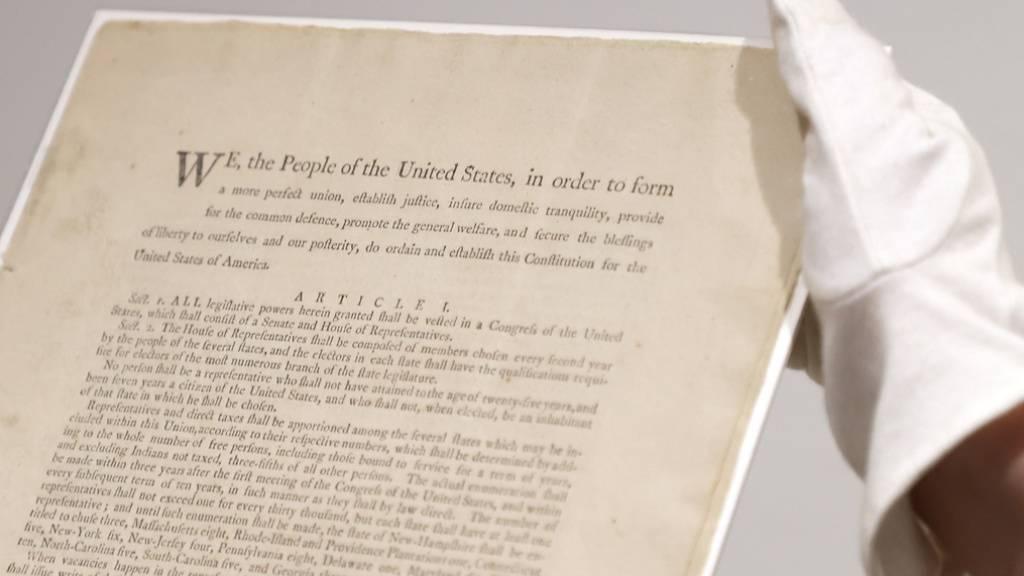 Wertvolles Originalexemplar der US-Verfassung wird versteigert