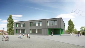 Wie auf dieser Visualisierung hätte sich das neue Realschulhaus in Schinznach dereinst präsentieren. Die Stimmberechtigten haben das Geschäft nun aber zurückgewiesen. zvg