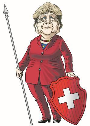 Mutti Helvetia: Karikatur von Silvan Wegmann zu Angela Merkel