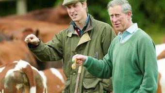 Prinz Charles (r) mit Sohn William auf seiner Farm (Archiv)