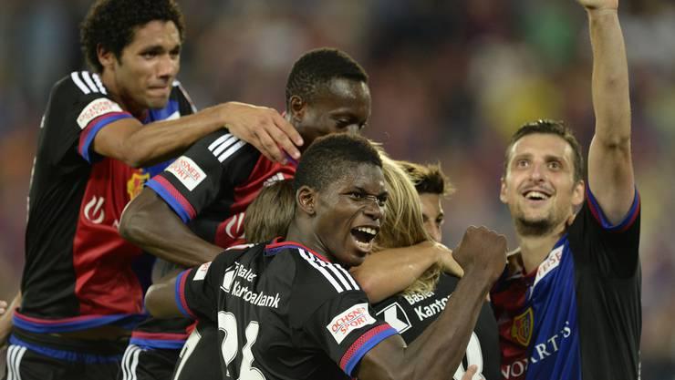 Der grosse FCB-Jubel nach dem einzigen Treffer der Partie durch Birkir Bjarnason