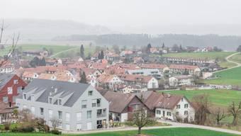 Übersichtsbild der Gemeinde Freienwil. Fotografiert am 12. Januar 2018.