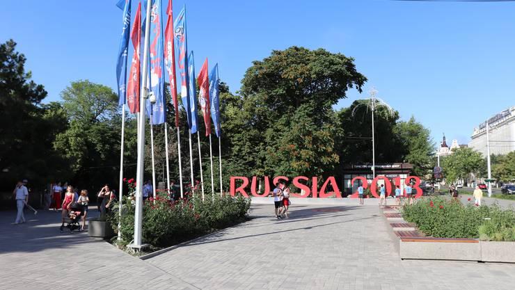 Der Schriftzug Russia 2018 in Rostov