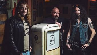 «The Vibes» im Aarauer Butcher's Pub (v.l.): Matthias Flückiger, Michael Hediger und Daniel «Mojo» Flückiger.Bild: Roman Gaigg/zVg