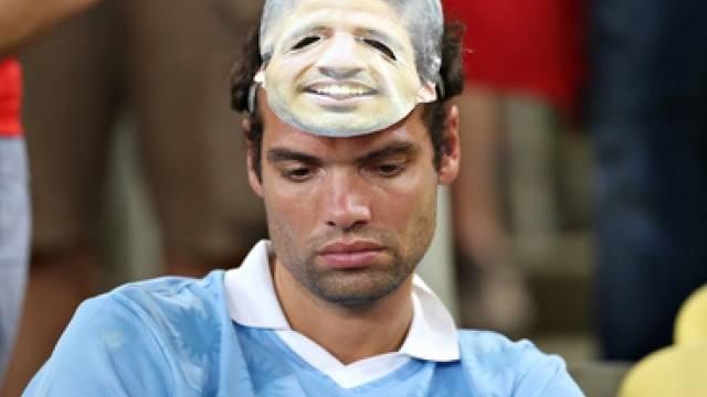 Enttäuschter Uruguay- und Suarez-Fan nach 0:2 gegen Kolumbien