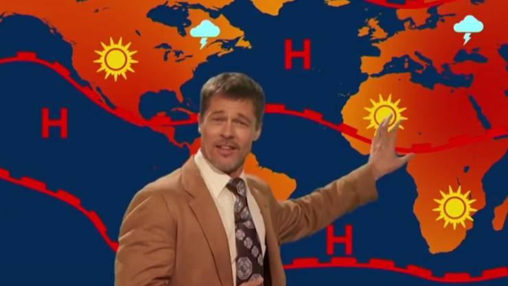 """Für die TV-Comedysendung """"The Jim Jefferies Show"""" ist Brad Pitt wieder in seine ausgebeulte Cord-Jacke gestiegen. (Screenshot)"""