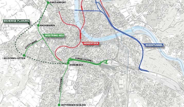 Neben Rheintunnel (blau) und Bahn-Herzstück (rot) planen die beiden Basel bereits an einem dritten Grossprojekt: Entgegen früheren Plänen (grün, gestrichelt) könnte ein unterirdischer Autobahn-Westring nun plötzlich auf Stadtboden entstehen (grün).