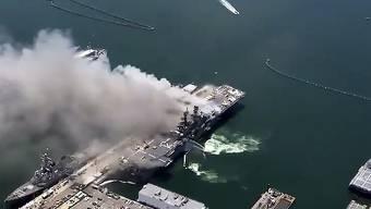 Beim Ausbruch eines Feuers auf einem US-Marineschiff hat es am Sonntag (Ortszeit) zahlreiche Verletzte gegeben.