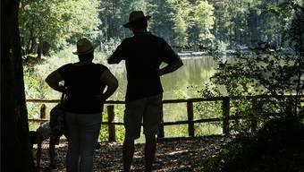 Beim Weiher Feldemoos konnten sich die Besucher bei wunderschöner Aussicht Gedanken zum Thema Wasser machen. KOB