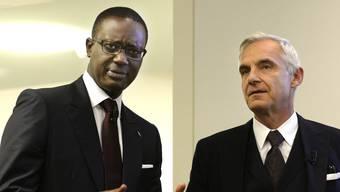 Am Mittwochmorgen um 7.30 Uhr am Zürcher Hauptsitz CEO Tidjane Thiam und Verwaltungsratspräsident Urs Rohner präsentieren Medienvertretern den Umbau der Credit Suisse.
