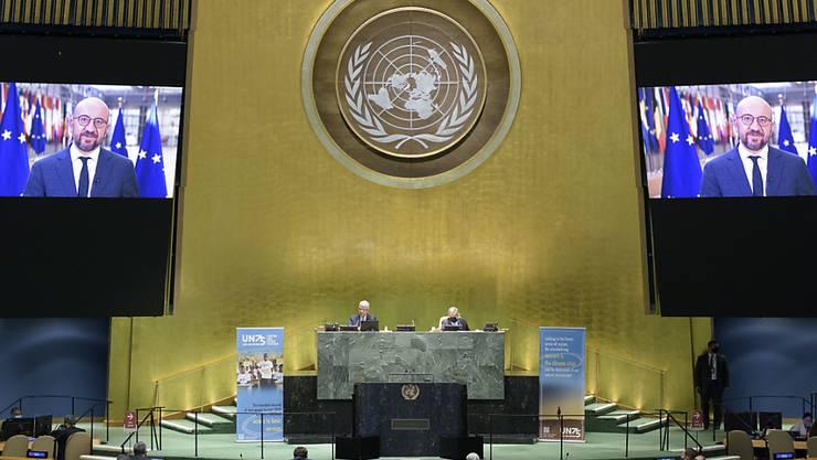 HANDOUT - Charles Michel, Präsident des Europäischen Rates, spricht zur Generalversammlung. Foto: Manuel Elias/UN Photo/dpa - ACHTUNG: Nur zur redaktionellen Verwendung und nur mit vollständiger Nennung des vorstehenden Credits
