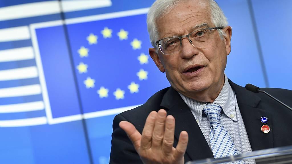 Josep Borrell, EU-Außenbeauftragter, spricht während einer Pressekonferenz in Brüssel. (Archivbild) Foto: John Thys/Pool AFP/AP/dpa