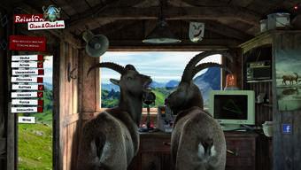 Die Kult-Steinböcke Gian und Giachen beraten die Bündnerlandfans im virtuellen Reisebüro