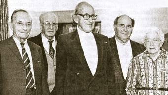 Die Gründergeneration, fotografiert anlässlich des 50-jährigen Jubiläums mit v.l. Ernst Uhlmann, Hans Roth, Walter Kamber, Gottfried Moser und Lotte Künzli (nicht im Bild Richard Müller)