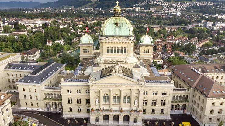 Luftaufnahme vom Bundeshaus.
