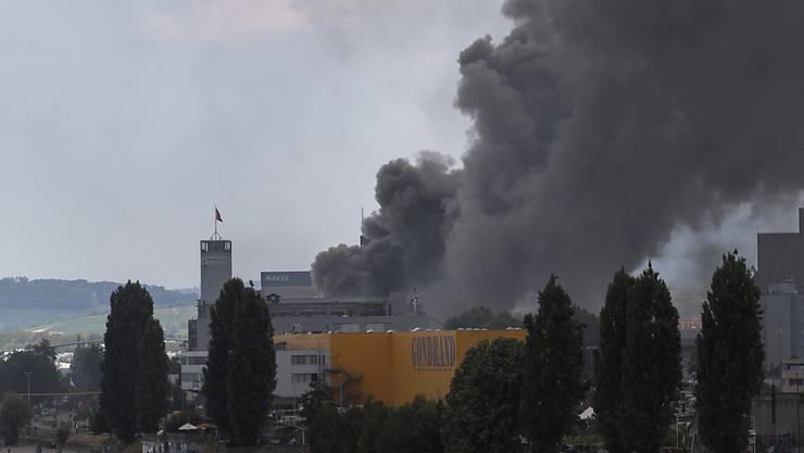 Die Rauchschwaden über dem brennenden Altholzlager im Basler Rheinhafen stellen für die Bevölkerung keine Gefahr dar.