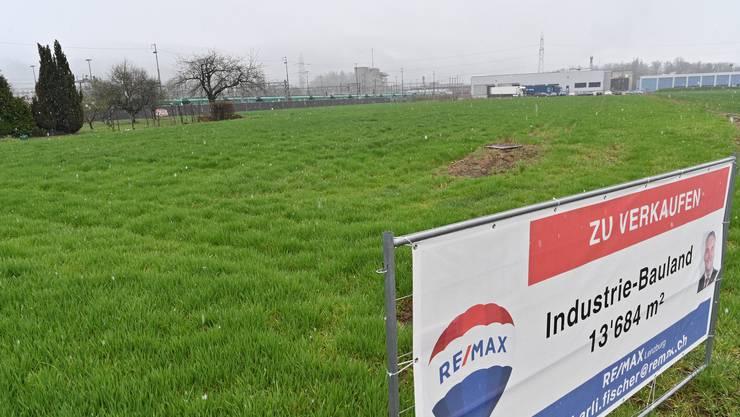 Das Industriebauland liegt direkt an den Bahngeleisen in Däniken.