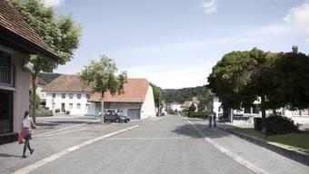 So soll der Strassenabschnitt im Bereich des Dorfplatzes gemäss dem Sanierungsprojekt «Hauptstrasse Nord» gestaltet werden.