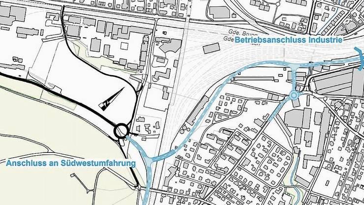 Die Karte zeigt den Anschluss Südwestumfahrung Brugg und den Betriebsanschluss Industrie.